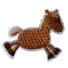 BROWN HORSE MOTIF IRON ON EMBROIDERED PATCH APPLIQUE